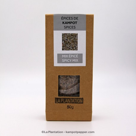 Spicy Flower of Salt with Kampot Pepper and Spices - 50g recycle paper